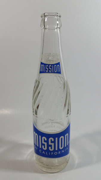"Vintage 1950-60s Mission of California 10 oz Clear Glass Beverage Bottle ""Naturally Good In All Flavors"""