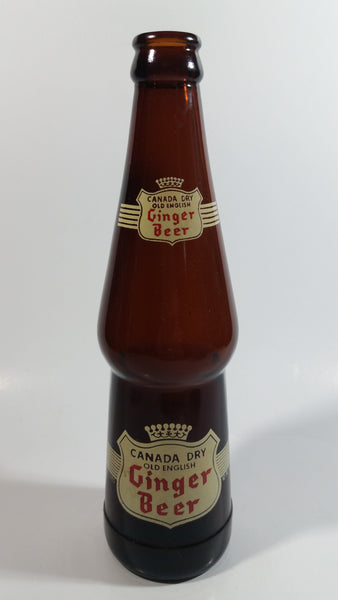 Vintage 1964 Canada Dry Old English Ginger Beer 10 oz Brown Amber Glass Beverage Bottle Toronto, Canada