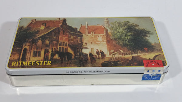 Vintage Ritmeester 50 Cigars No. 777 Made in Holland Vente En France Tin Metal Litho Container