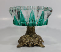 Vintage Teal Green Painted Heavy Glass and Brass Pedestal Ash Tray Smoking Collectible