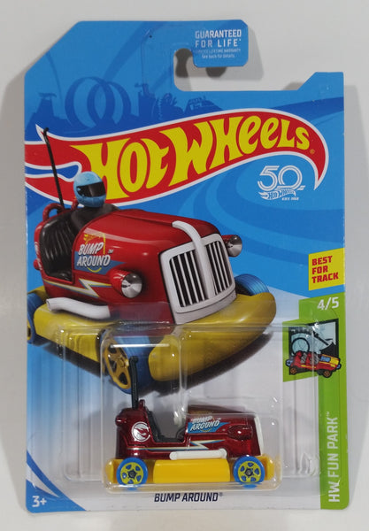 2018 Hot Wheels HW Fun Park Bump Around Bumper Car Metalflake Maroon Ride Die Cast Toy Vehicle - New in Package Sealed