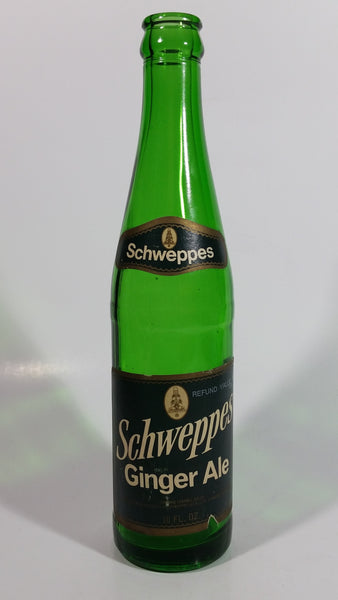 Vintage Schweppes Ginger Ale Soda Pop 10 oz Green Glass Beverage Bottle Stamford, Connecticut