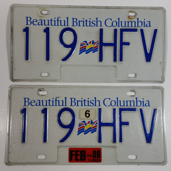 2006 Beautiful British Columbia White with Blue Letters Vehicle License Plate Set of 2 119 HFV