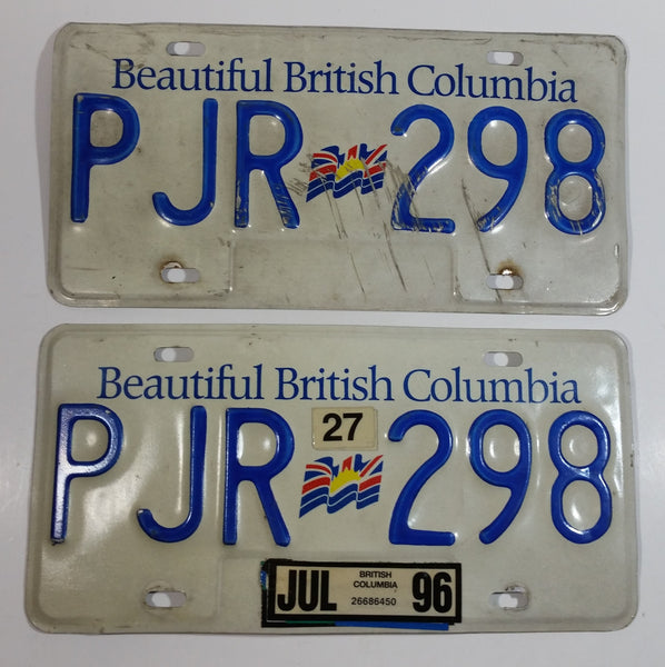 1996 Beautiful British Columbia White with Blue Letters Vehicle License Plate Set of 2 PJR 298