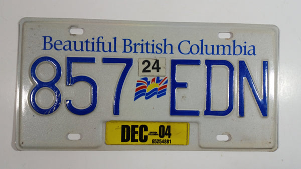 2004 Beautiful British Columbia White with Blue Letters Vehicle License Plate 857 EDN