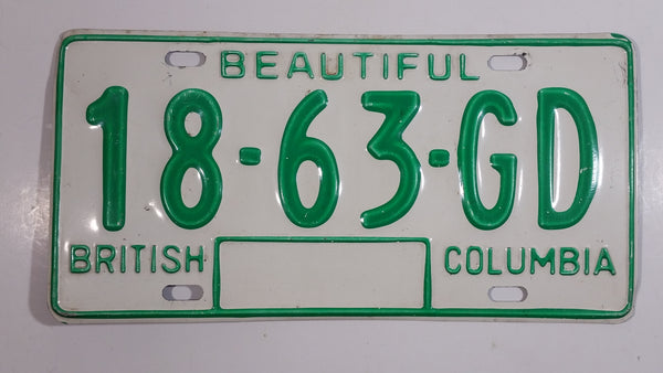 c. 1986 Beautiful British Columbia White with Green Letters Vehicle License Plate 18 63 GD