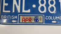 1986 Expo86 Beautiful British Columbia Blue with White Letters Vehicle License Plate - ENL 881