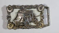Vintage Western Themed Horseshoes and Stage Coach Wagon Enamel and Metal Belt Buckle