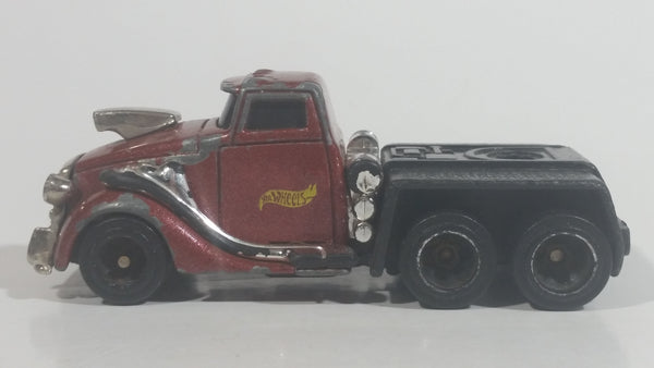 2000 Hot Wheels Pavement Pounders Semi Truck Dark Red Maroon Die Cast Toy Rig Tractor Vehicle 89049 89850
