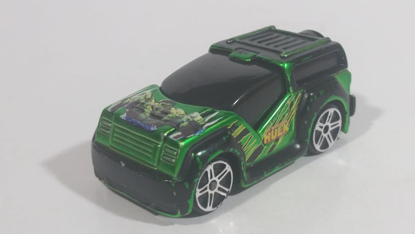 2012 Maisto Marvel FM Rover The Incredible Hulk Character Metallic Green and Black Die Cast Toy Car Vehicle