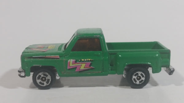 "Vintage Unknown Brand ""Flash"" Chevy Stepside Truck Green Die Cast Toy Car Vehicle Made in Hong Kong"