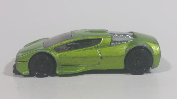 2012 Hot Wheels Auto Motion Speedway Zotic Metallic Light Green Die Cast Toy Car Vehicle