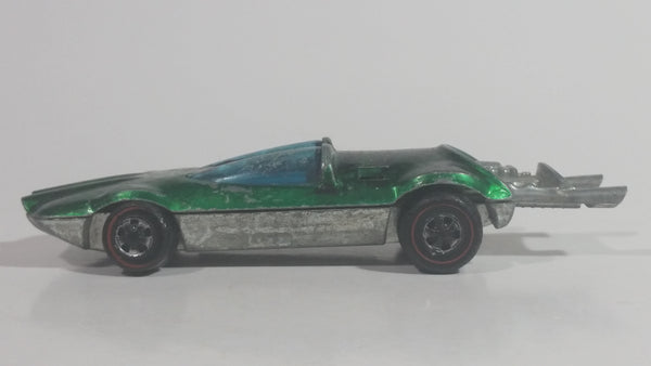 Vintage 1970 Hot Wheels Swingin' Wing Spectraflame Green Red Lines Die Cast Toy Car Vehicle with Slide Out Rear Exhaust and Engine - 1969 Hong Kong