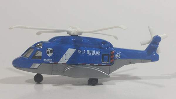 2015 Matchbox Jurassic World Sky Busters Mission Force Mission Chopper Helicopter Isla Nublar Blue Grey and White Die Cast Toy Aircraft Vehicle