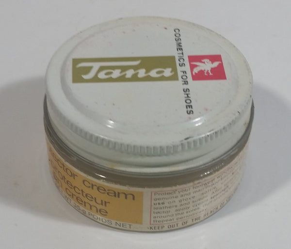 Vintage Tana Boot Shoe Polish Protector Cream 35g Round Glass Jar Metal Lid Some Product Inside Montreal Quebec