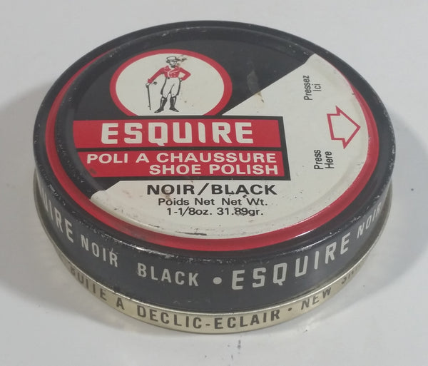 Vintage Knomark Esquire Boot Polish Black 1 1/8 oz Round Metal Tin Some Dry Product Inside