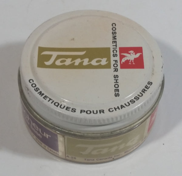 Vintage Tana Boot Shoe Polish Cleaner for Smooth Leather 35g Round Glass Jar Metal Lid Some Product Inside Montreal Quebec