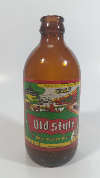 Vintage Molson Old Style Pilsner Beer 12 Fl oz Stubby Brown Amber Glass Beer Bottle with Paper Label