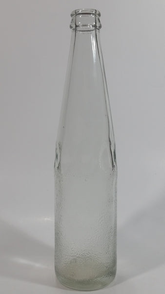 Vintage Clear Indented Half Blurred Glass Beverage Bottle