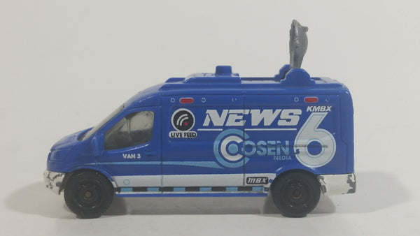 2017 Matchbox MBX Adventure City '14 Ford Transit News Van Blue Die Cast Toy Car Vehicle