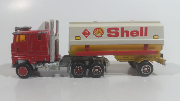 Vintage Majorette Shell Oil Fuel Tanker Trailer and Semi Tractor Truck Yellow , Red White Die Cast Toy Car Vehicle