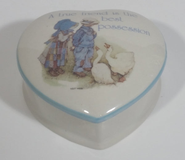 "Vintage Holly Hobbie Designer's Collection ""Blue Girl"" Fine Porcelain Heart Shaped Trinket Box Made in Japan"