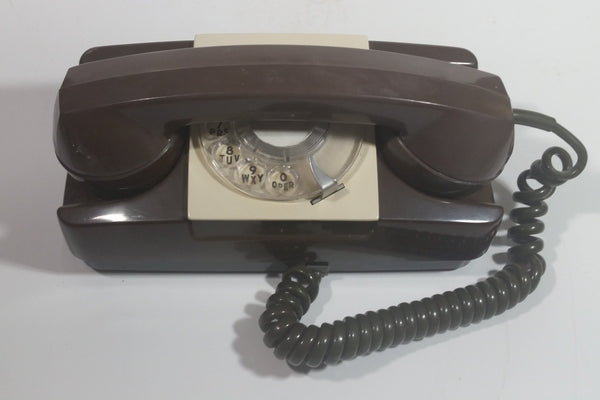 Vintage GTE Automatic Electric Brown Rotary Table or Wall Mount Telephone
