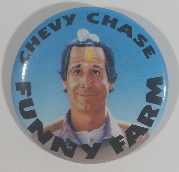 1988 Warner Bros Funny Farm Movie Film Chevy Chase Round Button Pin