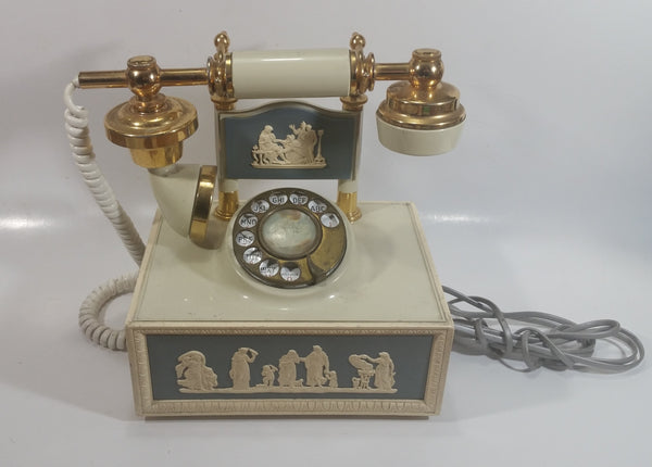 Vintage DecoTel French Victorian Style Blue and White Cameo Grecian Scenes Brass Rotary Telephone