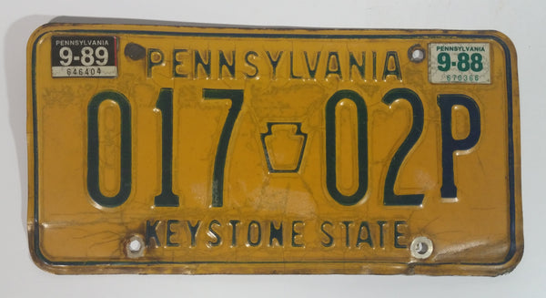 1988 Pennsylvania Keystone State Yellow with Blue Letters Vehicle License Plate 017 02P