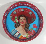 "Vintage 1960s Corona Cervaza Extra Beer Victoria Girl Model Modelo Red Metal Beverage Tray 13"" Diameter"