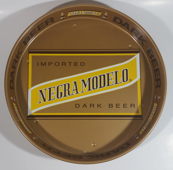 "Vintage 1960s Negra Modelo Imported Dark Beer Brown and Yellow Metal Beverage Tray 13"" Diameter"