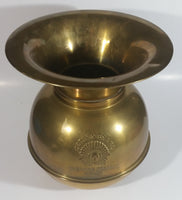 "Antique Redskin Brand Chewing Tobacco Cut Plug Large Brass 10 1/4"" Tall Spittoon"