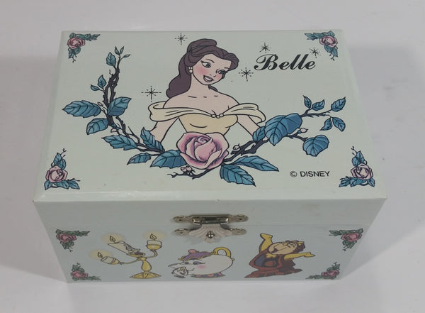 Disney Beauty and The Beast Belle Pink Felt Lined Wind Up Musical Keepsake Trinket Box