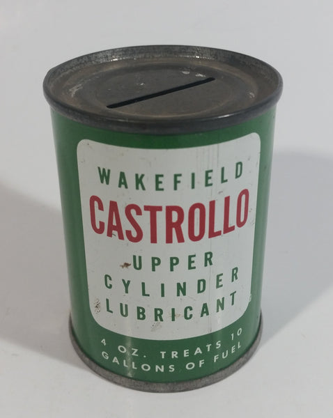 Vintage Wakefield Castrollo Upper Cylinder Lubricant 4 oz Tin Metal Coin Bank