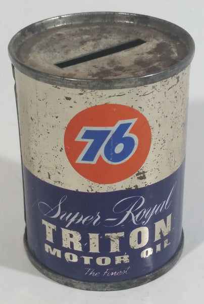 "Rare Vintage Unocal 76 Super Royal Triton Motor Oil ""The Finest"" 4 oz Tin Metal Coin Bank"