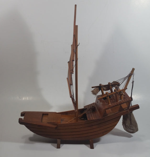 "Nicely Detailed Oriental Asian Styled Wood Sail Wooden Sailboat Fishing Trawler Model Boat 13"" Long 14 1/2"" Tall Nautical Collectible"