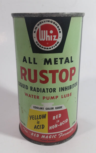 Vintage Whiz Hollingshead All Metal Rustop Liquid Radiator Inhibitor Water Pump Lube 12 1/8 Fl oz. Imp. Tin Metal Can Never Opened Still Full