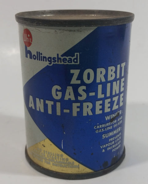 Vintage Whiz Hollingshead Zorbit Gas-Line Anti-Freeze 4 Fl oz. Tin Metal Can Never Opened Still Full - Bowmanville, Ontario