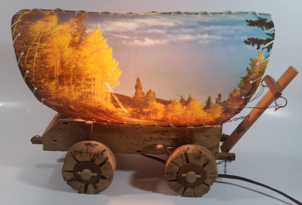 Beautiful Vintage Plastic Covered Nature Scenes Elk and Forest Wooden Chuck Wagon Lamp Light