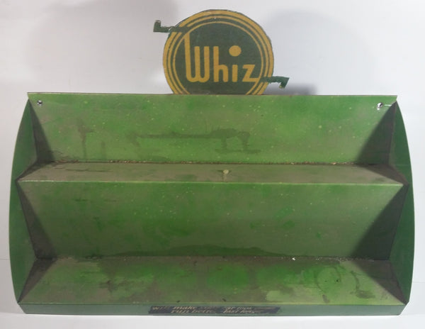 "Vintage Custom Made Whiz Automotive Products Green Metal Wall Mount Display Shelf 18""W x 10""H x 8""D"