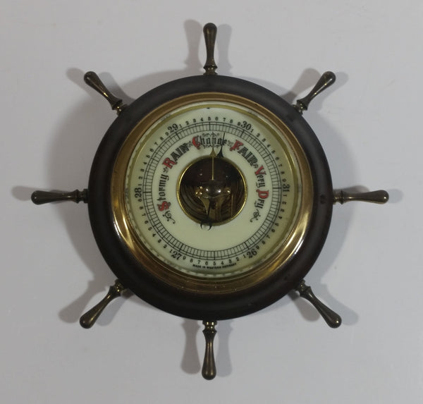 Vintage Ships Wheel Barometer - Wood, Brass, Metal Face - West Germany