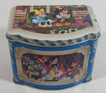 1985 Walt Disney Mickey and Minnie Mouse Snow White Characters Blue Hinged Tin Metal Container