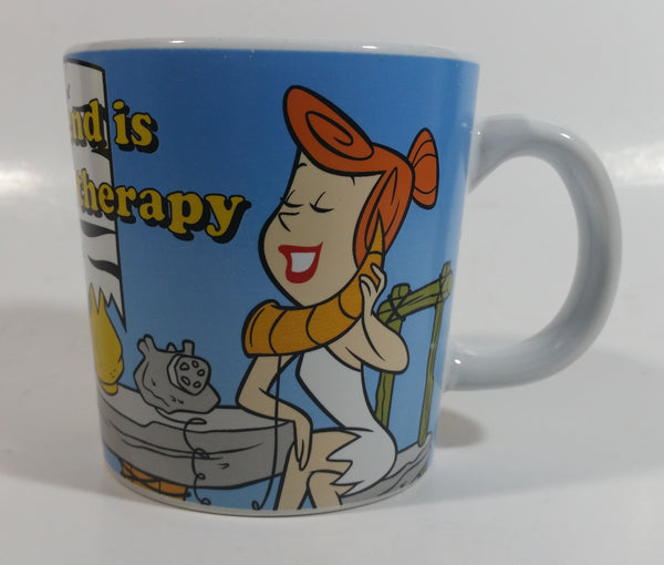 "Hanna Barbera The Flintstones ""A good friend is cheaper than therapy"" Wilma Flintstone and Betty Rubble Ceramic Coffee Mug Cartoon Television Show Collectible"