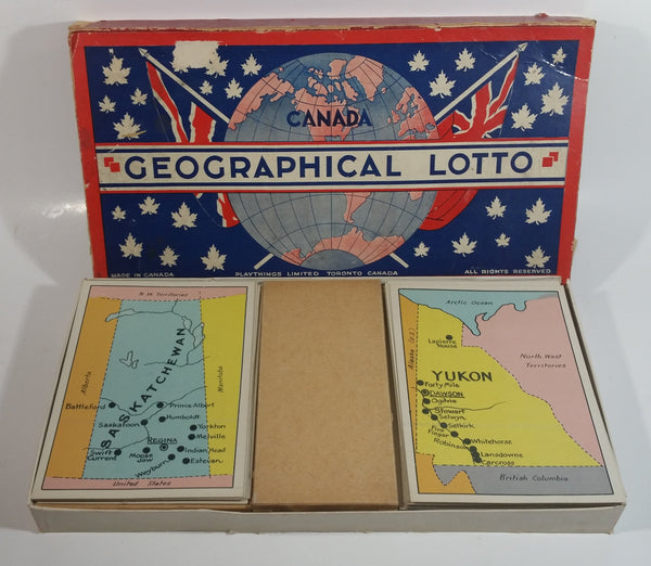 Antique 1930s Playthings Limited Canada Geographical Lotto Game in Box Toronto, Canada