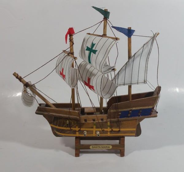 Vintage Collectible Santa Maria 1492 Wooden Model Sailing Ship