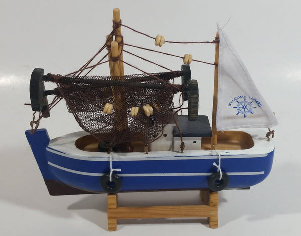 "Welcome Aboard 6 1/2"" Long Blue and White Wood Fishing Boat Ship"