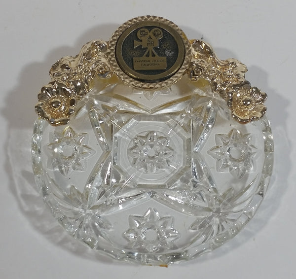 Rare Vintage Universal Studios Crystal Glass and Gold Tone Metal Ash Tray Smoking Movie Film Collectible