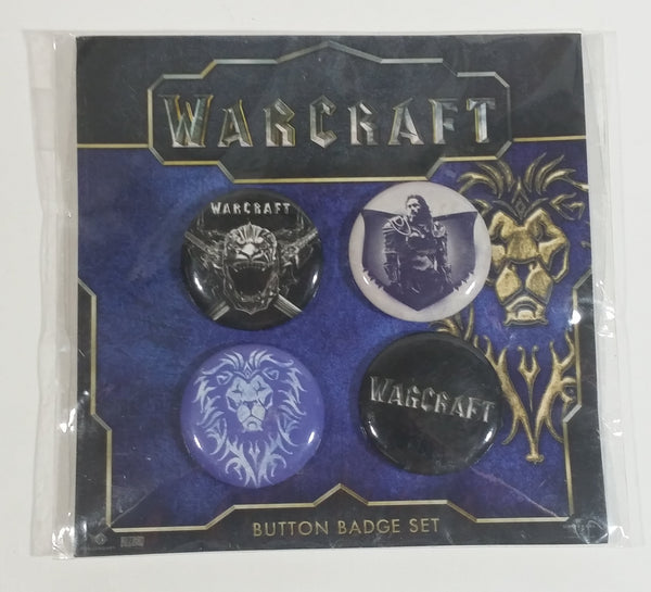 Warcraft Button Badge Set of 4 Round Pins New in Pack Video Computer Game Collectible