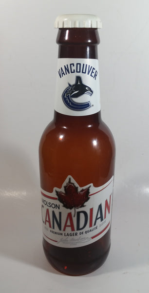 "Molson Canadian Beer NHL Ice Hockey Vancouver Canucks 14"" Tall Large Brown Plastic Bottle Shaped Coin Bank Sports Collectible"